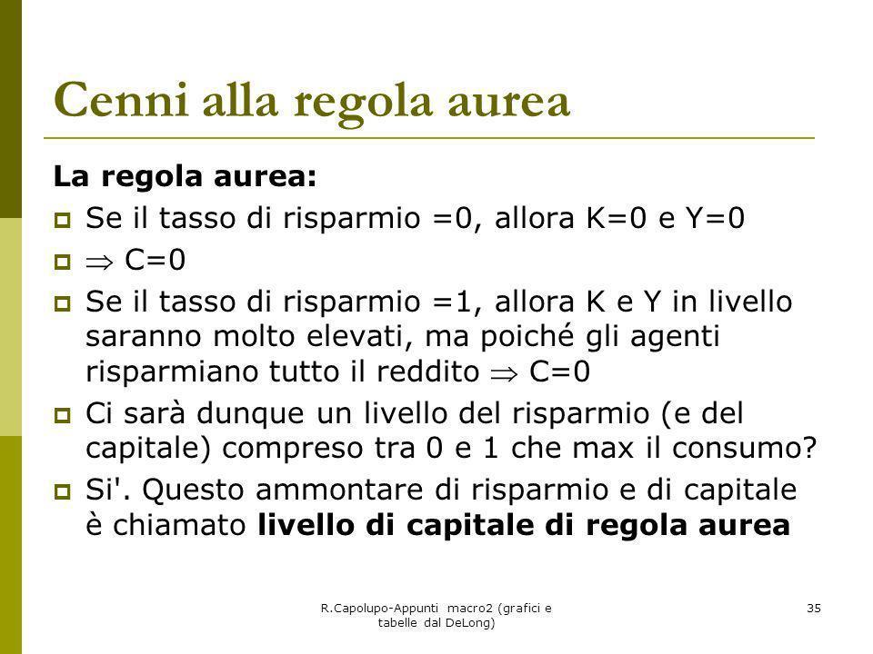 R.Capolupo-Appunti macro2 (grafici e tabelle dal DeLong) 35 Cenni alla regola aurea La regola aurea: Se il tasso di risparmio =0, allora K=0 e Y=0 C=0