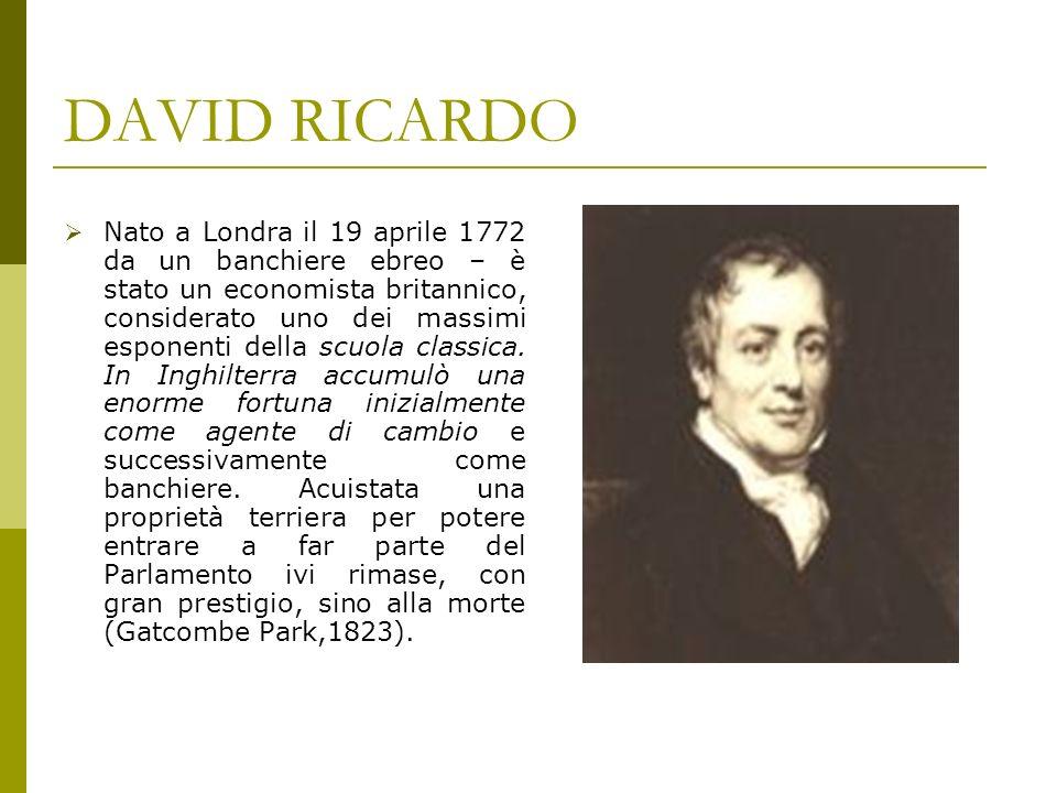 DAVID RICARDO Classi sociali Principi dellEconomia politica e dellimposta (1871): Distribuzione del prodotto nazionale tra le classi lavoratrici: 1.
