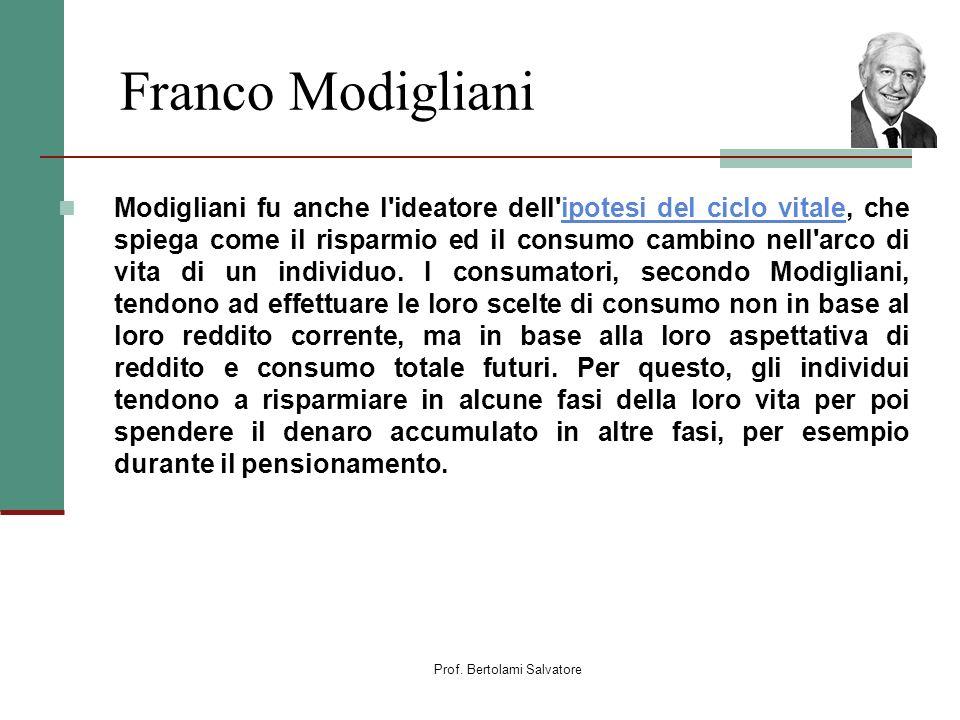 Prof. Bertolami Salvatore Franco Modigliani Modigliani fu anche l'ideatore dell'ipotesi del ciclo vitale, che spiega come il risparmio ed il consumo c