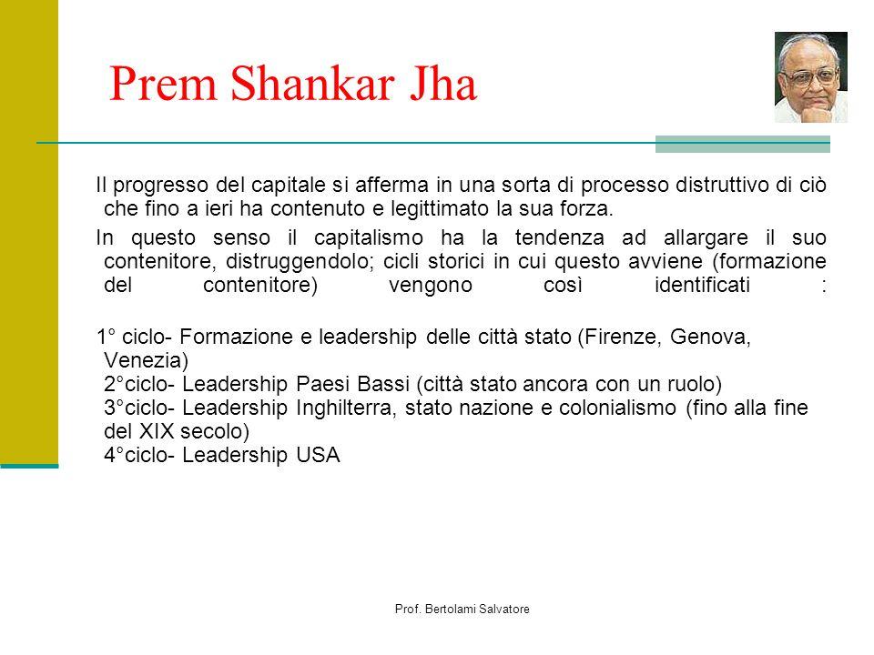 Prof. Bertolami Salvatore Prem Shankar Jha Il progresso del capitale si afferma in una sorta di processo distruttivo di ciò che fino a ieri ha contenu