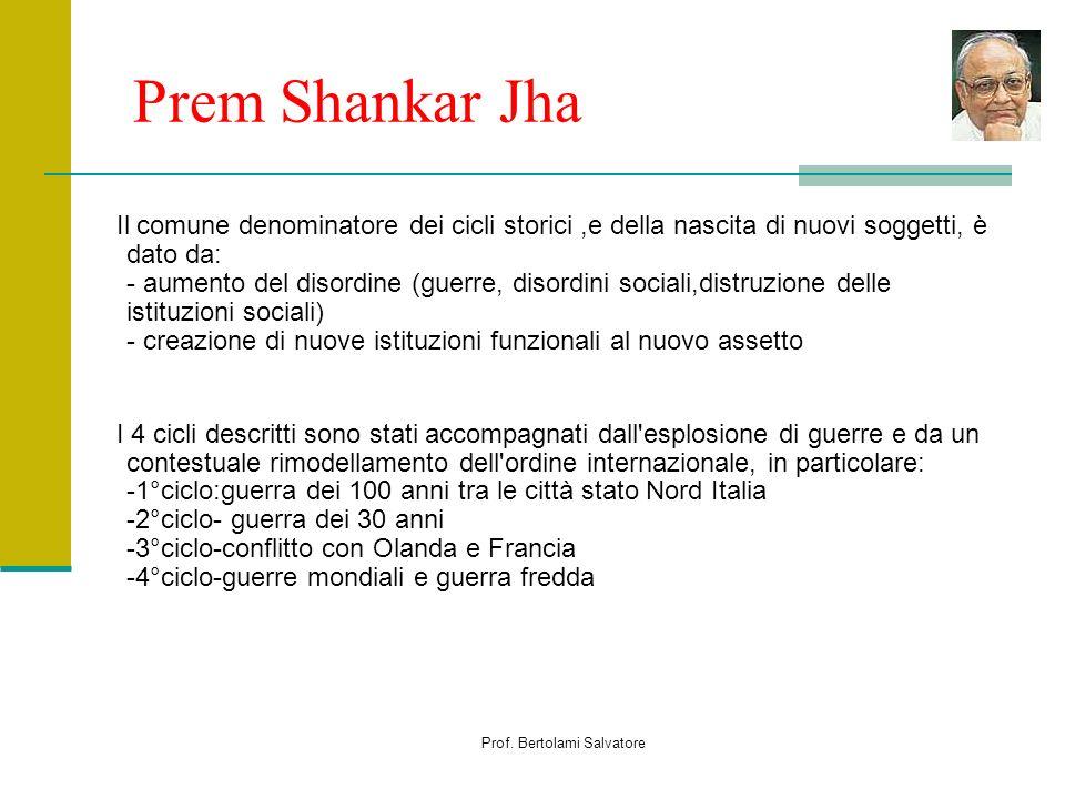 Prof. Bertolami Salvatore Prem Shankar Jha Il comune denominatore dei cicli storici,e della nascita di nuovi soggetti, è dato da: - aumento del disord