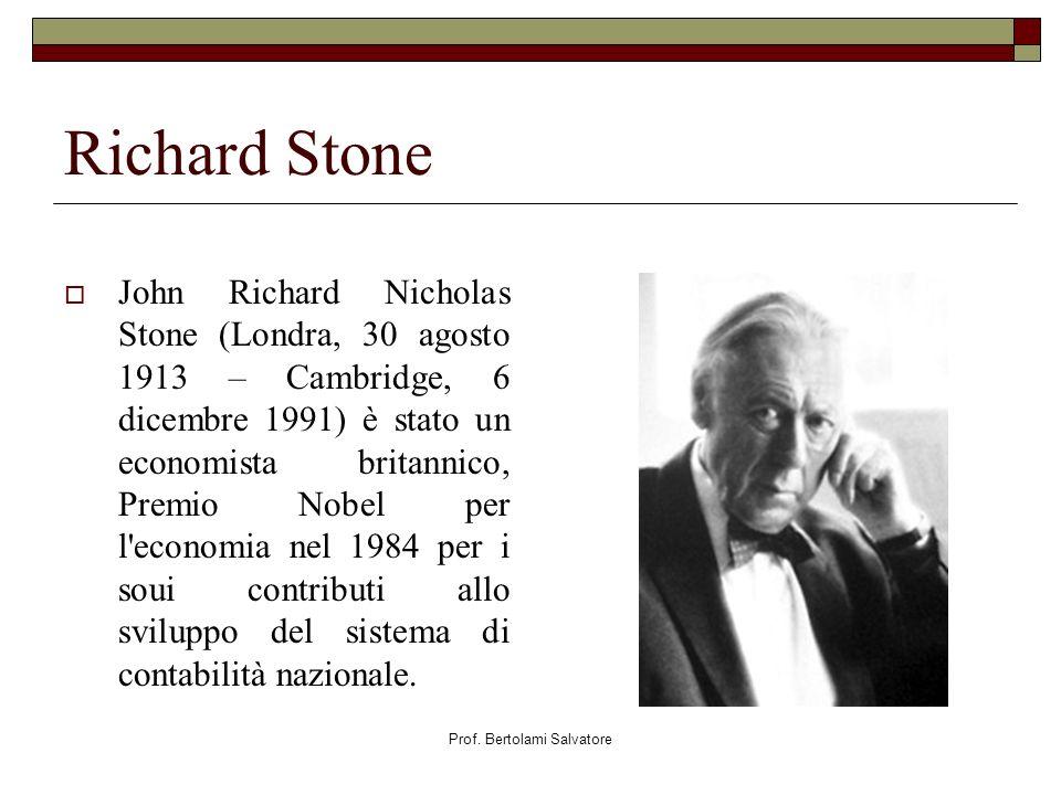 Prof. Bertolami Salvatore Richard Stone John Richard Nicholas Stone (Londra, 30 agosto 1913 – Cambridge, 6 dicembre 1991) è stato un economista britan
