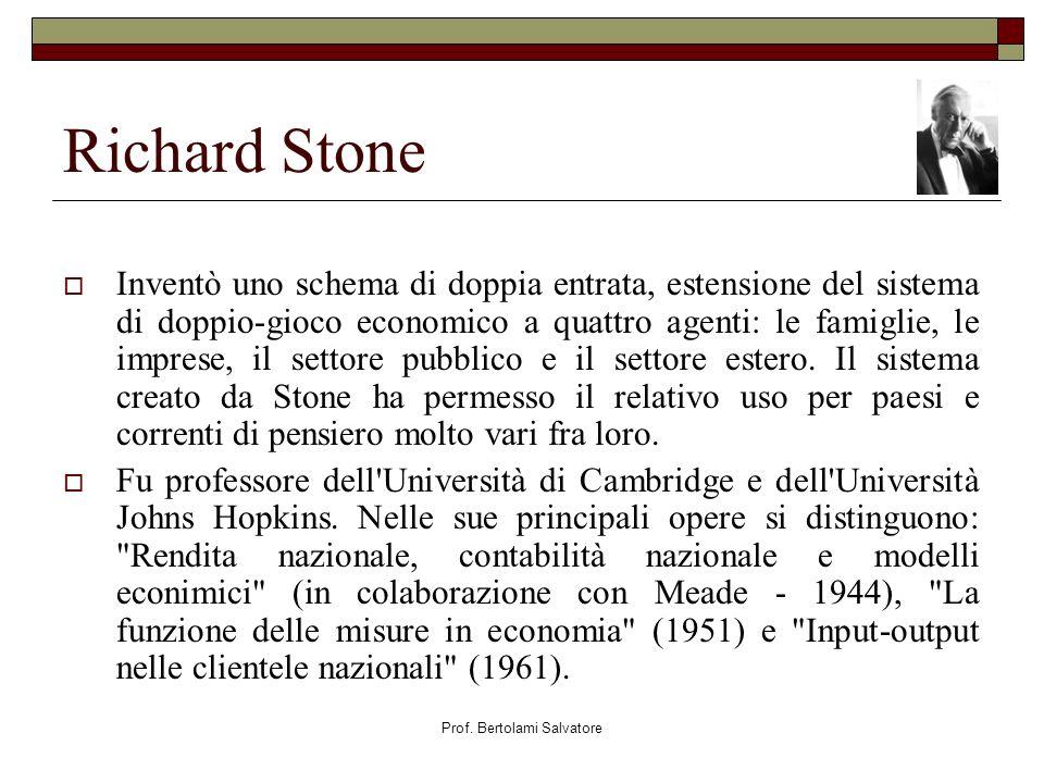 Prof. Bertolami Salvatore Richard Stone Inventò uno schema di doppia entrata, estensione del sistema di doppio-gioco economico a quattro agenti: le fa