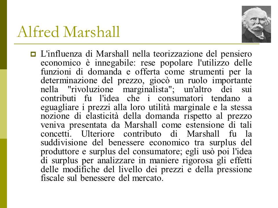 Alfred Marshall L'influenza di Marshall nella teorizzazione del pensiero economico è innegabile: rese popolare l'utilizzo delle funzioni di domanda e