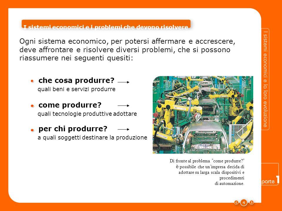 4 Ogni sistema economico, per potersi affermare e accrescere, deve affrontare e risolvere diversi problemi, che si possono riassumere nei seguenti quesiti: Di fronte al problema come produrre.