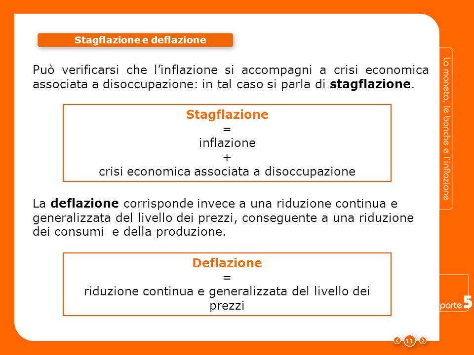 Può verificarsi che linflazione si accompagni a crisi economica associata a disoccupazione: in tal caso si parla di stagflazione. Stagflazione e defla