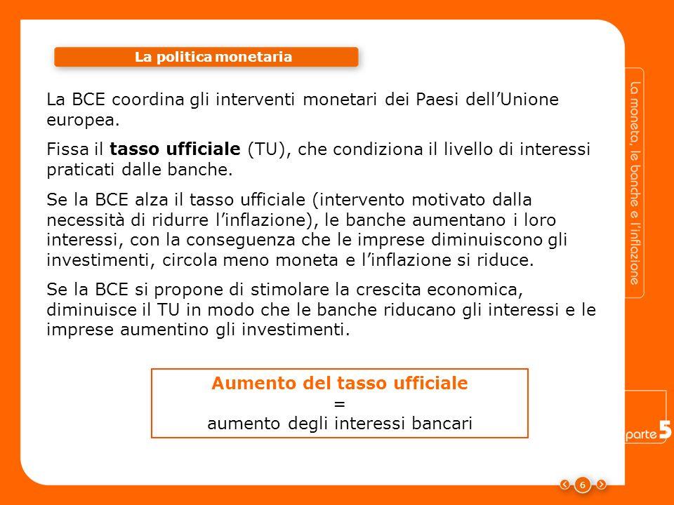 6 La BCE coordina gli interventi monetari dei Paesi dellUnione europea. La politica monetaria Fissa il tasso ufficiale (TU), che condiziona il livello