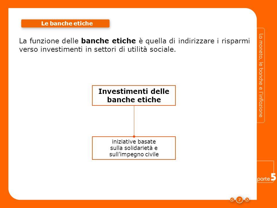 7 La funzione delle banche etiche è quella di indirizzare i risparmi verso investimenti in settori di utilità sociale. iniziative basate sulla solidar
