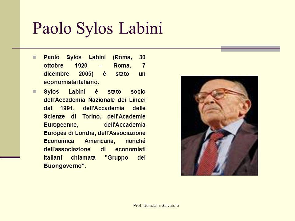 Prof. Bertolami Salvatore Paolo Sylos Labini Paolo Sylos Labini (Roma, 30 ottobre 1920 – Roma, 7 dicembre 2005) è stato un economista italiano. Sylos