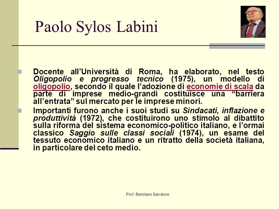 Prof. Bertolami Salvatore Paolo Sylos Labini Docente allUniversità di Roma, ha elaborato, nel testo Oligopolio e progresso tecnico (1975), un modello