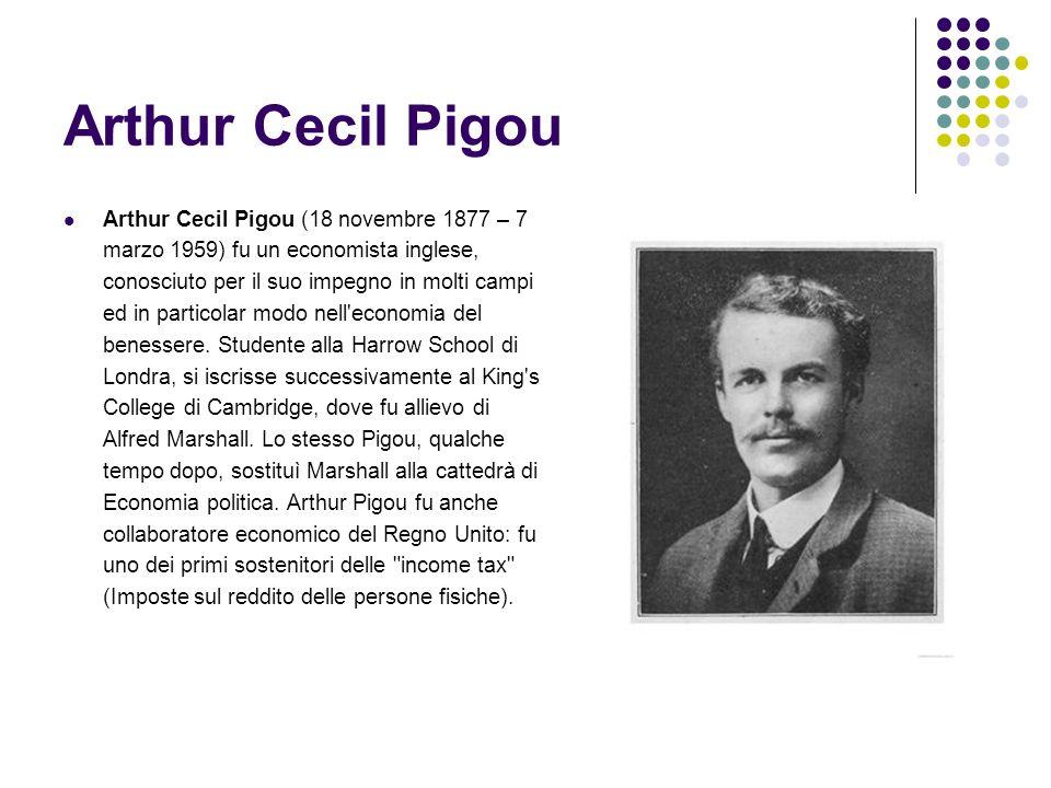 Arthur Cecil Pigou Arthur Cecil Pigou (18 novembre 1877 – 7 marzo 1959) fu un economista inglese, conosciuto per il suo impegno in molti campi ed in p