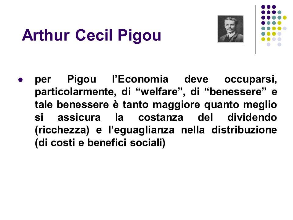 Arthur Cecil Pigou per Pigou lEconomia deve occuparsi, particolarmente, di welfare, di benessere e tale benessere è tanto maggiore quanto meglio si as