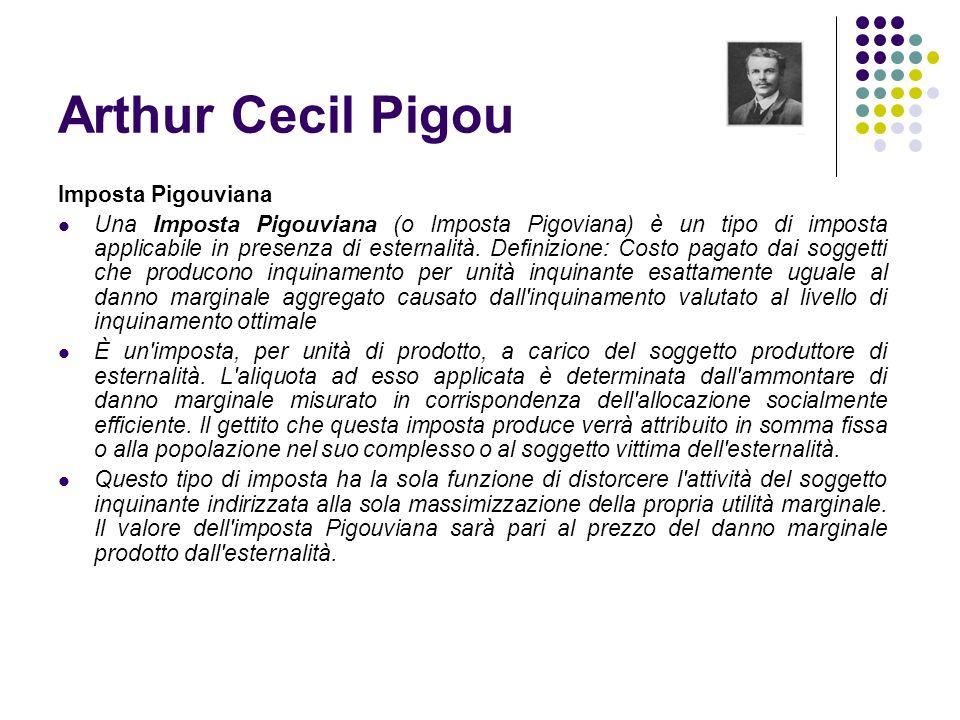 Arthur Cecil Pigou Imposta Pigouviana Una Imposta Pigouviana (o Imposta Pigoviana) è un tipo di imposta applicabile in presenza di esternalità. Defini