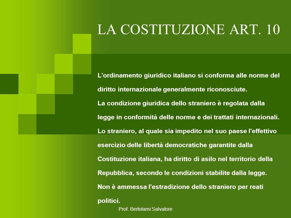 Prof. Bertolami Salvatore LA COSTITUZIONE ART. 9 La Repubblica promuove lo sviluppo della cultura e la ricerca scientifica e tecnica. Tutela il paesag