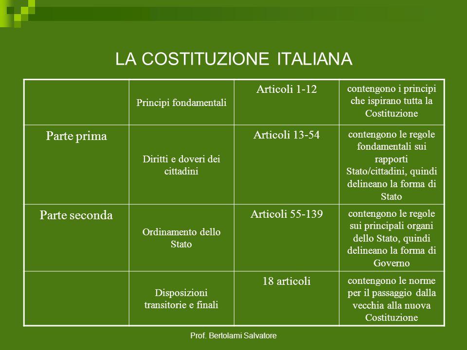 Prof. Bertolami Salvatore LA COSTITUZIONE ITALIANA La Costituzione italiana, composta da 139 articoli e da 18 disposizioni transitorie e finali, è div