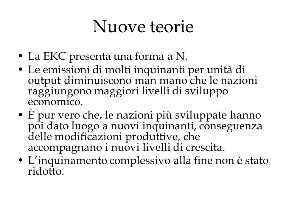 Nuove teorie La EKC presenta una forma a N. Le emissioni di molti inquinanti per unità di output diminuiscono man mano che le nazioni raggiungono magg