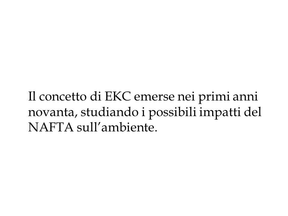 Il concetto di EKC emerse nei primi anni novanta, studiando i possibili impatti del NAFTA sullambiente.