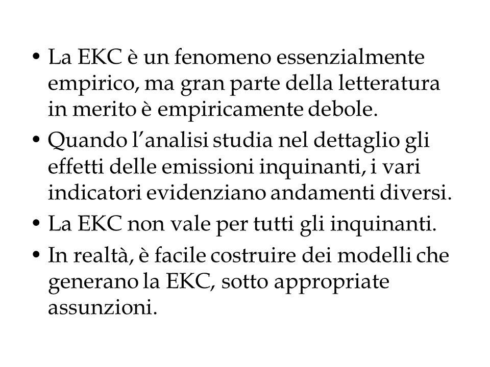 1.I primi studi sullinquinamento indicavano che gli inquinamenti locali soddisfacevano la EKC; 2.lo stesso non si può dire per gli inquinanti globali (come la CO 2 ).