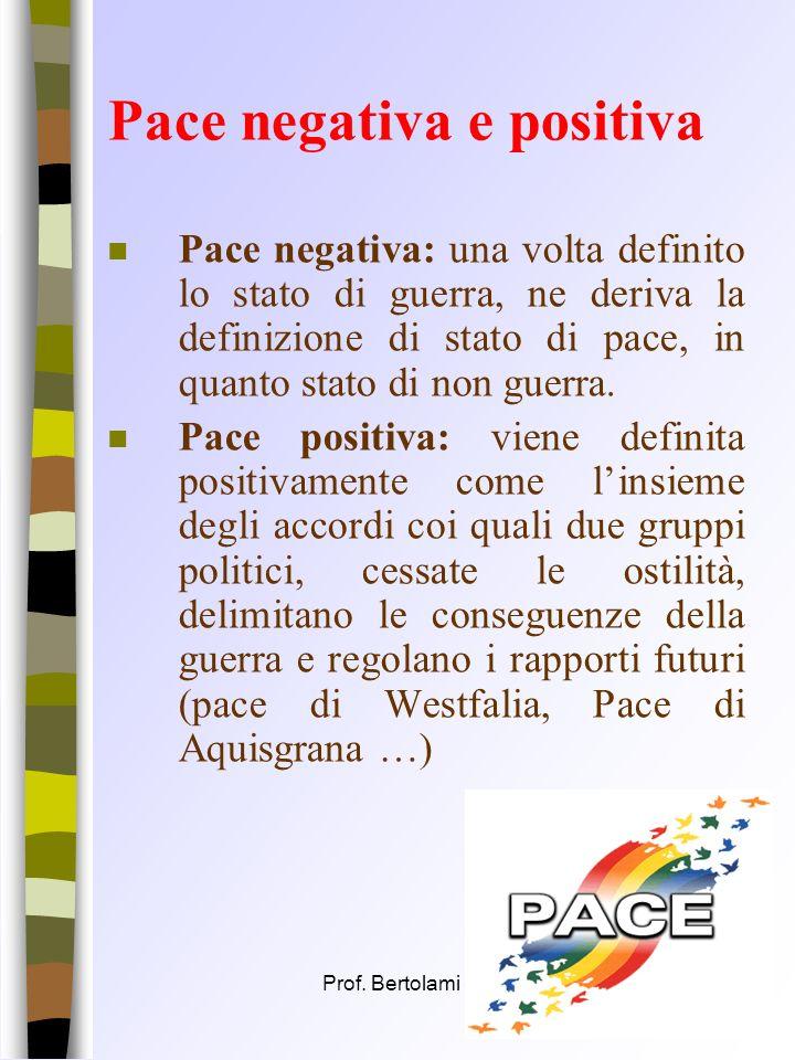 Prof. Bertolami Salvatore11 Il valore della Pace n Bobbio a questo proposito evidenzia come la guerra non sia sempre un disvalore e la pace non sia se