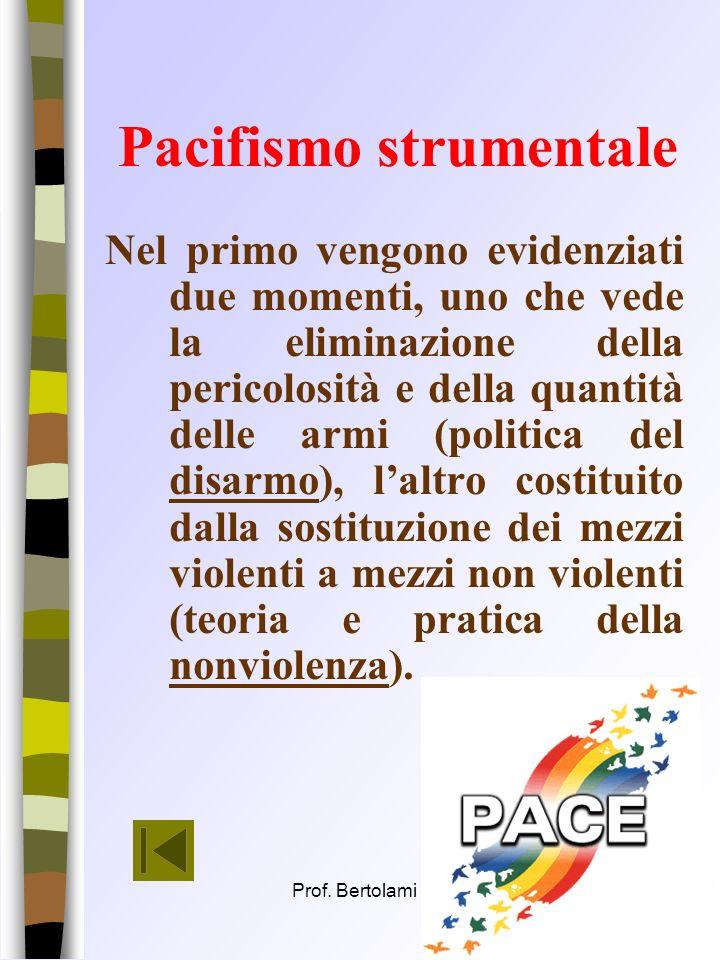 Prof. Bertolami Salvatore15 Il pacifismo attivo 1. agendo sui mezzi ( pacifismo pacifismo strumentale strumentale ); 2. sugli uomini (pacifismo pacifi