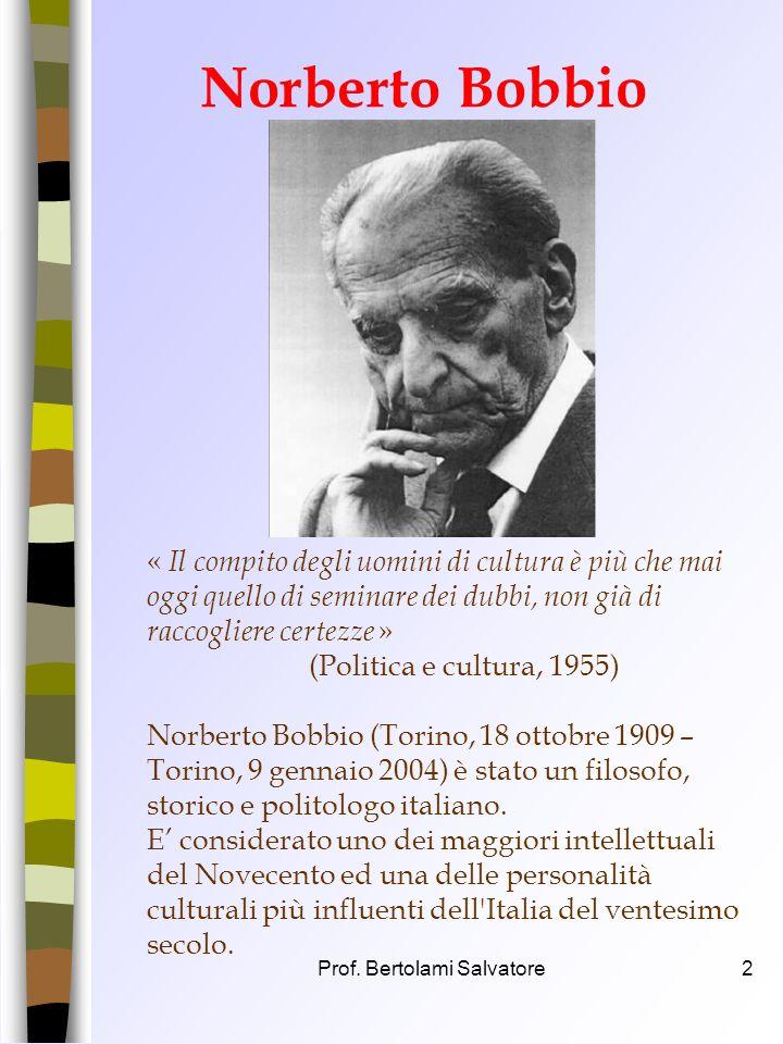 Prof. Bertolami Salvatore1 LItalia ripudia la guerra come strumento di offesa alla libertà degli altri popoli e come mezzo di risoluzione delle contro