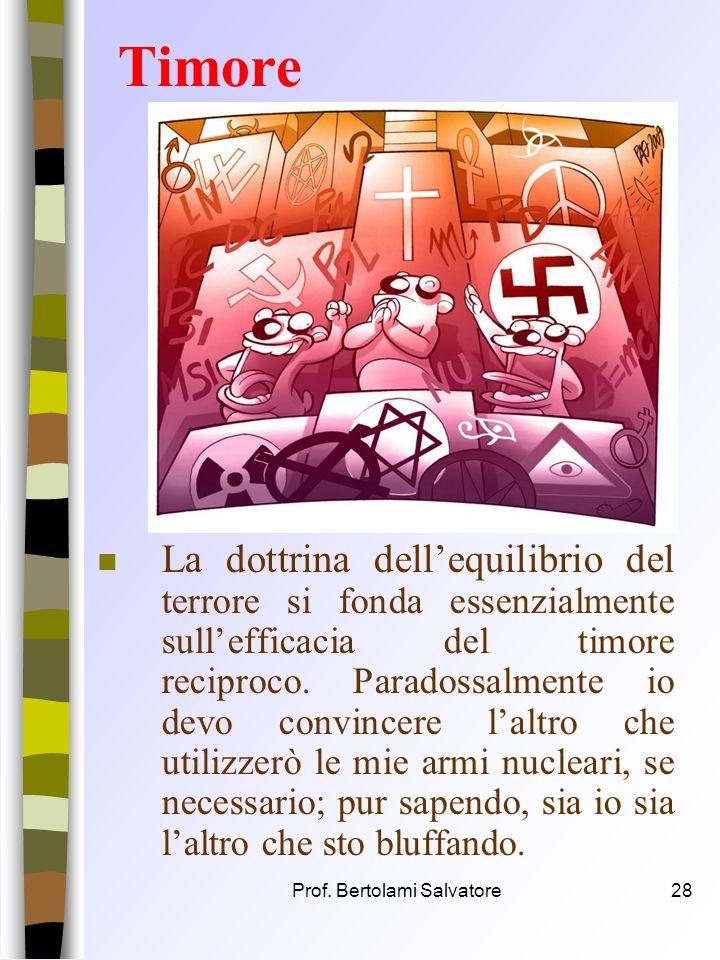 Prof. Bertolami Salvatore27 Paradossi n Esistenza di strumenti di guerra costruiti non per essere usati, come tutte le altri armi da guerra, ma anzi c