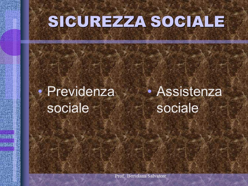 Prof. Bertolami Salvatore SICUREZZA SOCIALE Previdenza sociale Assistenza sociale