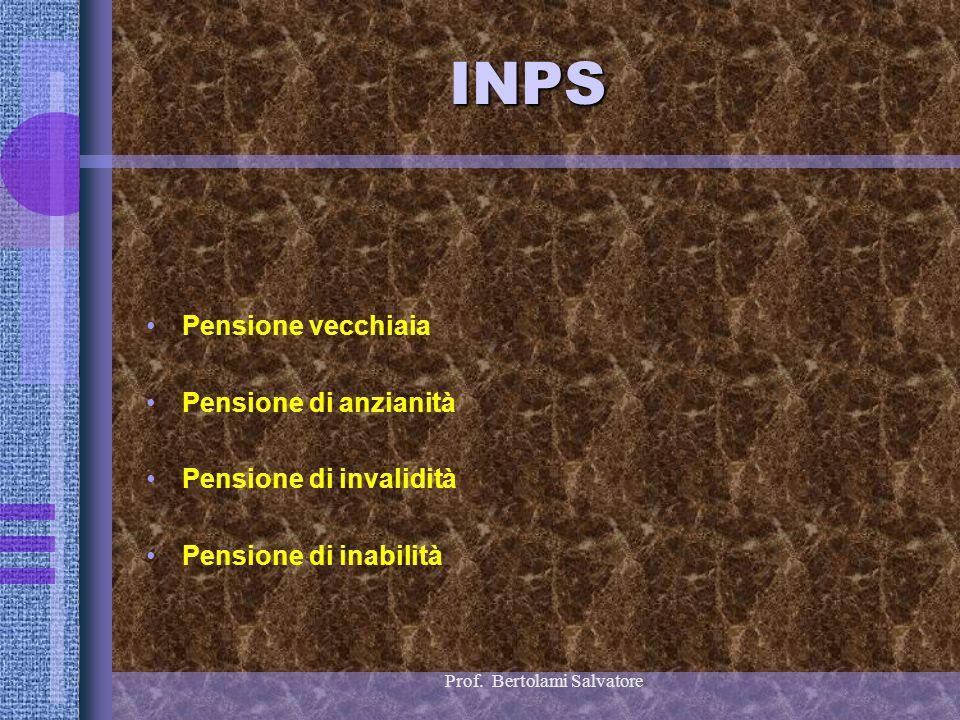 Prof. Bertolami Salvatore INPS Pensione vecchiaia Pensione di anzianità Pensione di invalidità Pensione di inabilità