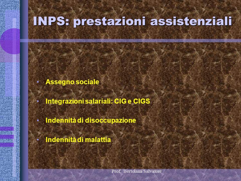 Prof. Bertolami Salvatore INPS: prestazioni assistenziali Assegno sociale Integrazioni salariali: CIG e CIGS Indennità di disoccupazione Indennità di