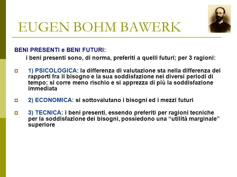 EUGEN BOHM BAWERK esemplificazione della determinazione del VALORE COMPLEMENTARE: beni A B C VALORI MARGINALI dei singoli elementi 10 20 40 valori mar