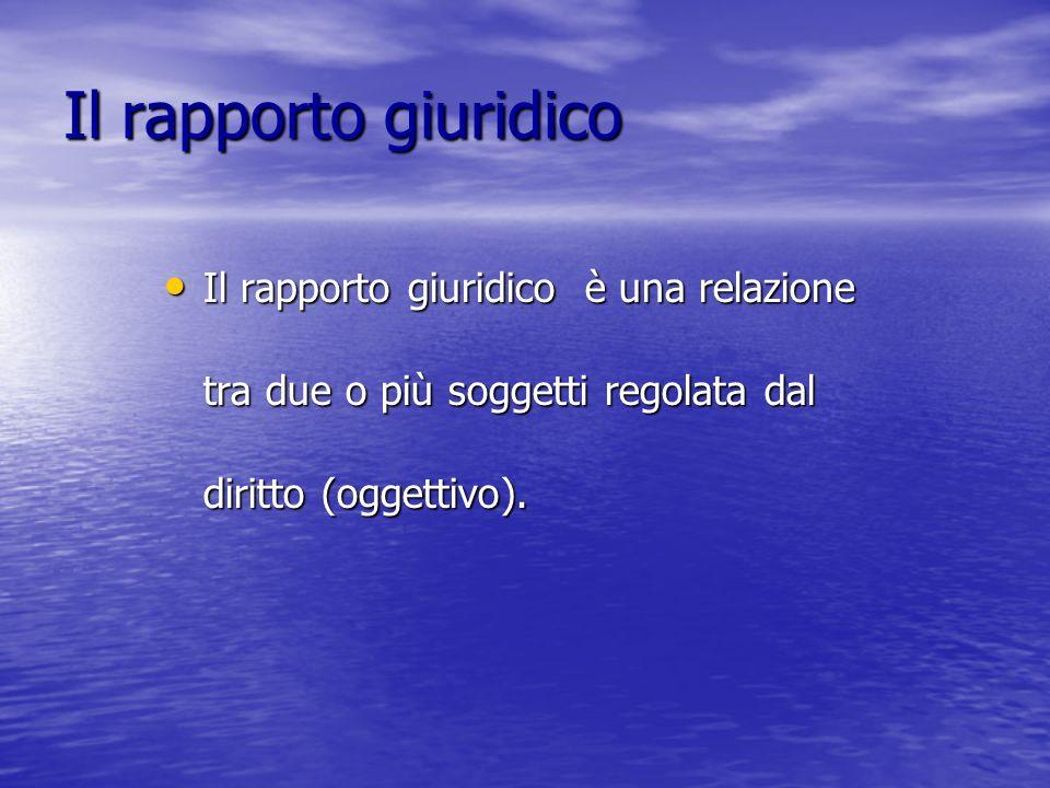 Il rapporto giuridico Il rapporto giuridico è una relazione tra due o più soggetti regolata dal diritto (oggettivo).