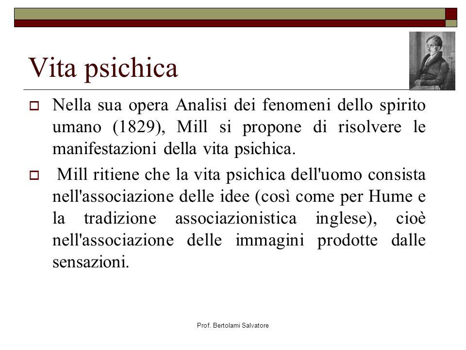Prof. Bertolami Salvatore Vita psichica Nella sua opera Analisi dei fenomeni dello spirito umano (1829), Mill si propone di risolvere le manifestazion