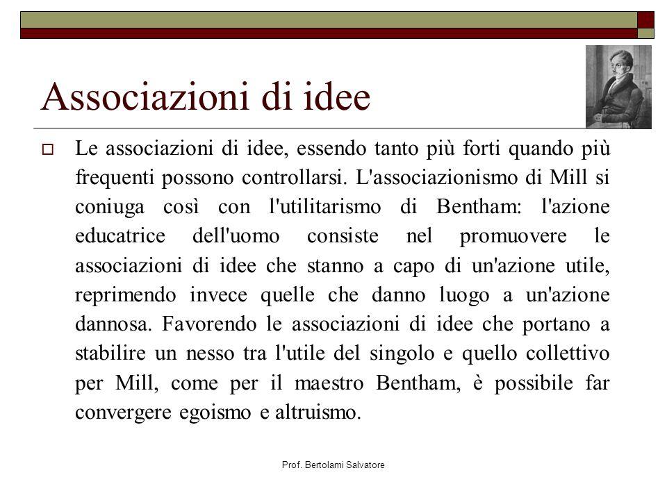 Prof. Bertolami Salvatore Associazioni di idee Le associazioni di idee, essendo tanto più forti quando più frequenti possono controllarsi. L'associazi