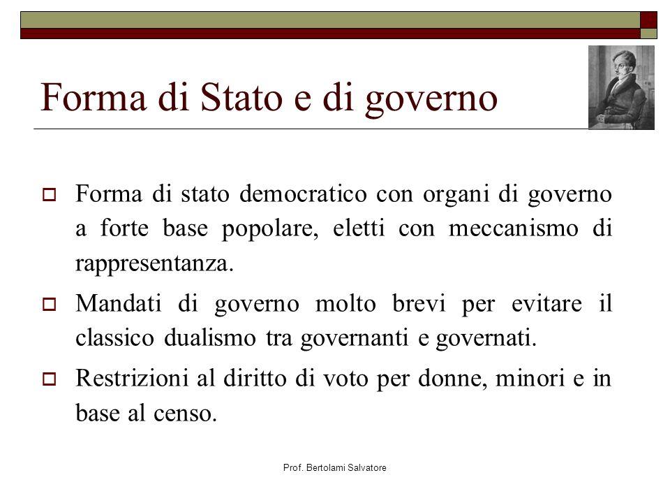 Prof. Bertolami Salvatore Forma di Stato e di governo Forma di stato democratico con organi di governo a forte base popolare, eletti con meccanismo di