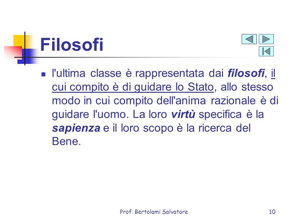 Prof. Bertolami Salvatore10 Filosofi l'ultima classe è rappresentata dai filosofi, il cui compito è di guidare lo Stato, allo stesso modo in cui compi