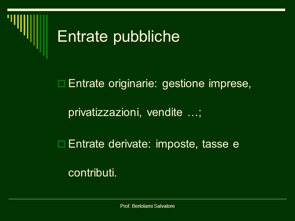 Prof. Bertolami Salvatore Entrate pubbliche Entrate originarie: gestione imprese, privatizzazioni, vendite …; Entrate derivate: imposte, tasse e contr