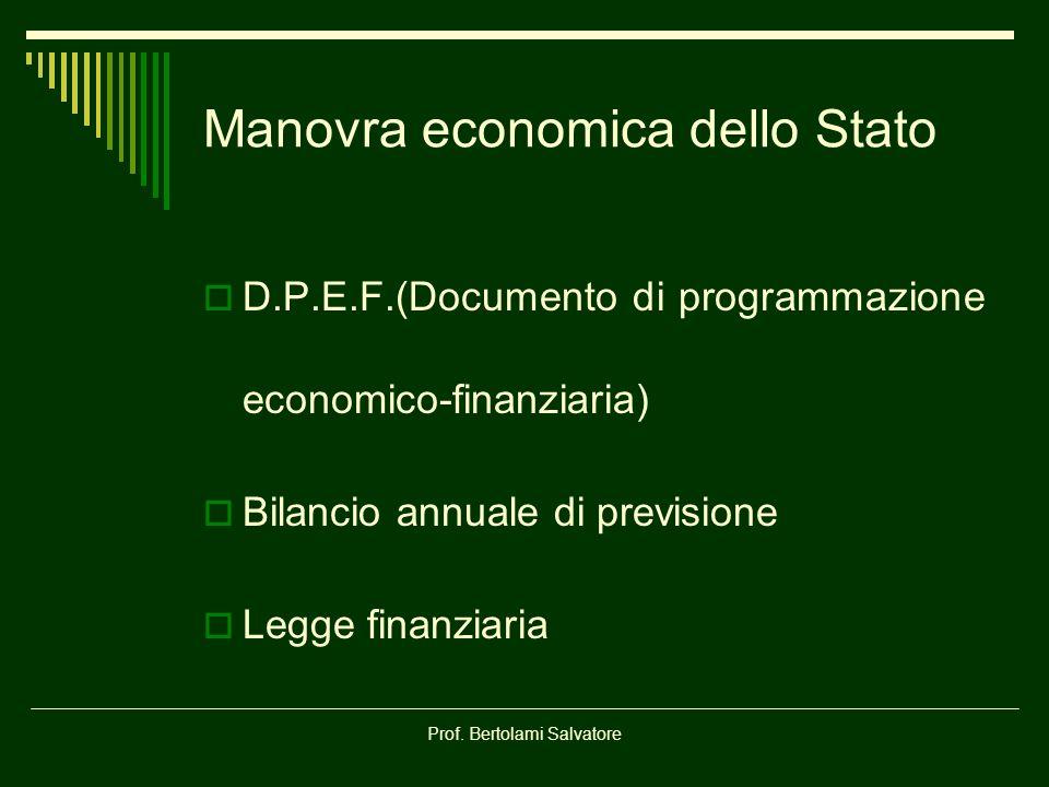 Prof. Bertolami Salvatore Manovra economica dello Stato D.P.E.F.(Documento di programmazione economico-finanziaria) Bilancio annuale di previsione Leg