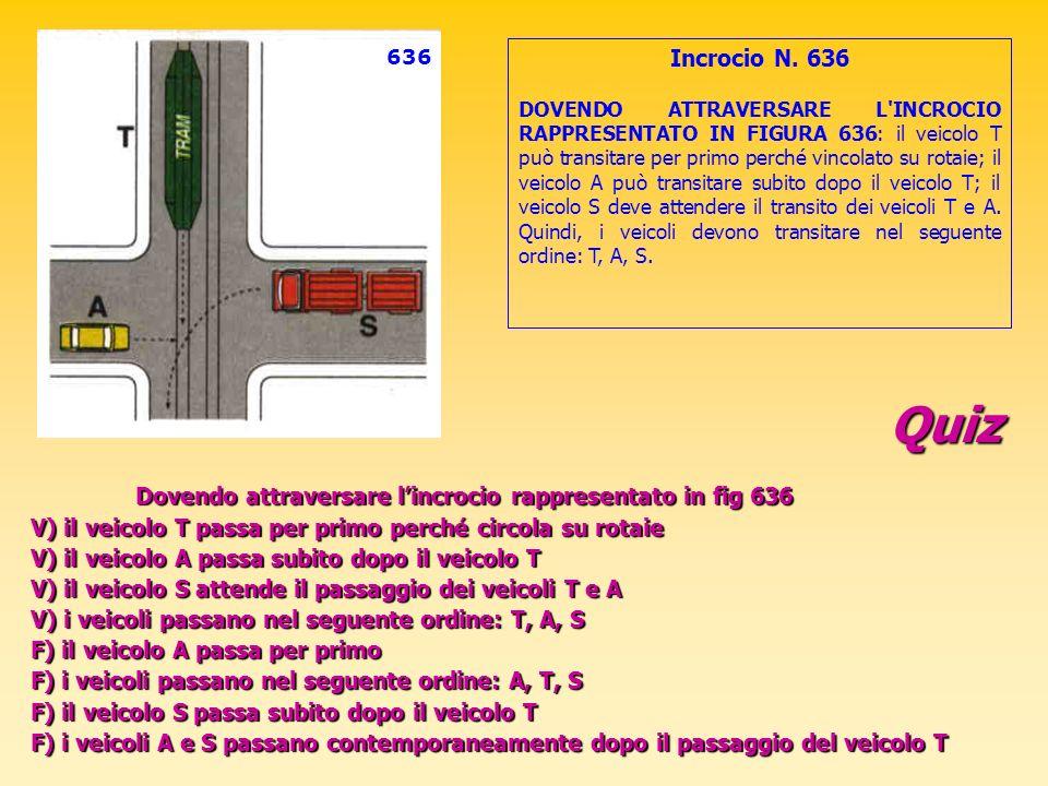 Quiz Dovendo attraversare lincrocio rappresentato in fig 636 V) il veicolo T passa per primo perché circola su rotaie V) il veicolo A passa subito dop