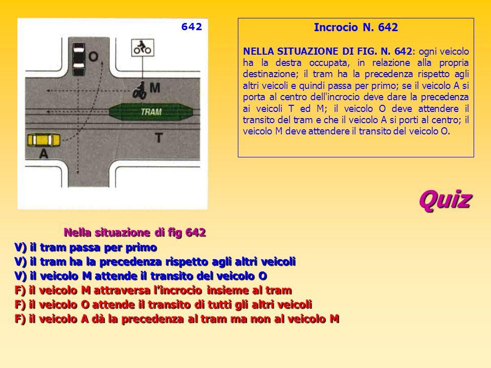 Quiz Nella situazione di fig 642 V) il tram passa per primo V) il tram ha la precedenza rispetto agli altri veicoli V) il veicolo M attende il transit