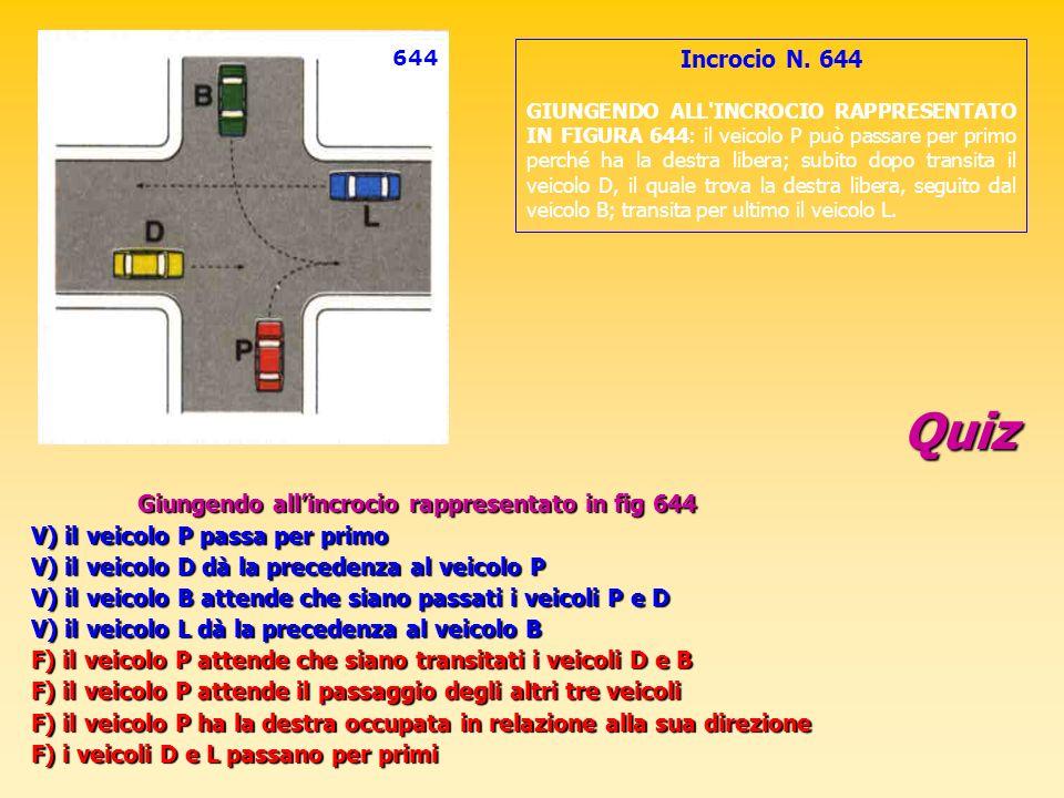 Quiz Giungendo allincrocio rappresentato in fig 644 V) il veicolo P passa per primo V) il veicolo D dà la precedenza al veicolo P V) il veicolo B atte