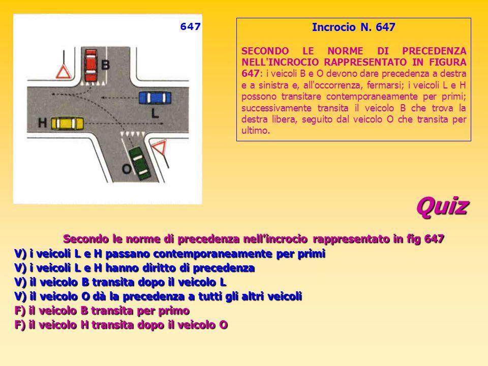 Quiz Secondo le norme di precedenza nellincrocio rappresentato in fig 647 V) i veicoli L e H passano contemporaneamente per primi V) i veicoli L e H h