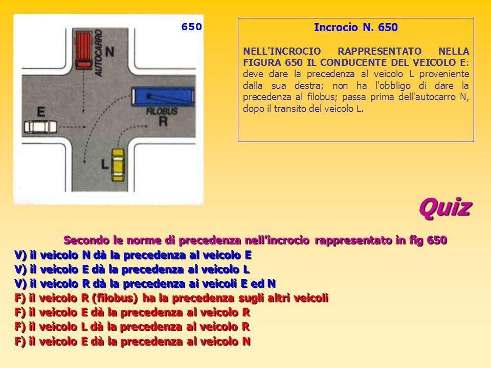 Quiz Secondo le norme di precedenza nellincrocio rappresentato in fig 650 V) il veicolo N dà la precedenza al veicolo E V) il veicolo E dà la preceden
