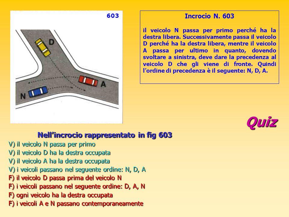 Quiz Nellincrocio rappresentato in fig 603 V) il veicolo N passa per primo V) il veicolo D ha la destra occupata V) il veicolo A ha la destra occupata