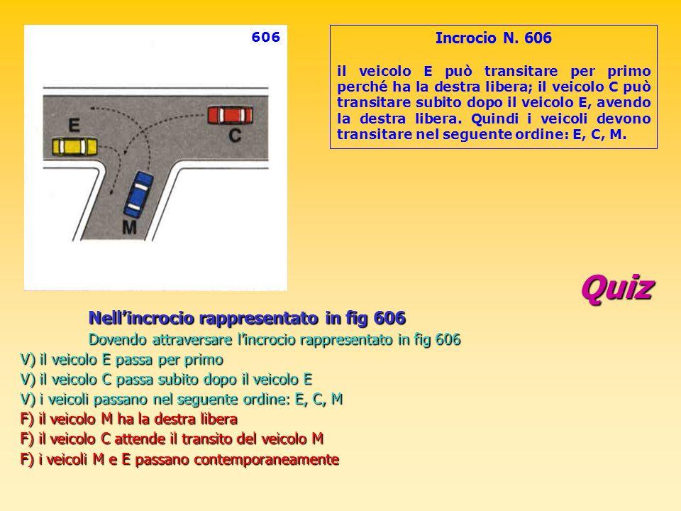 Quiz Nellincrocio rappresentato in fig 606 Dovendo attraversare lincrocio rappresentato in fig 606 V) il veicolo E passa per primo V) il veicolo C pas