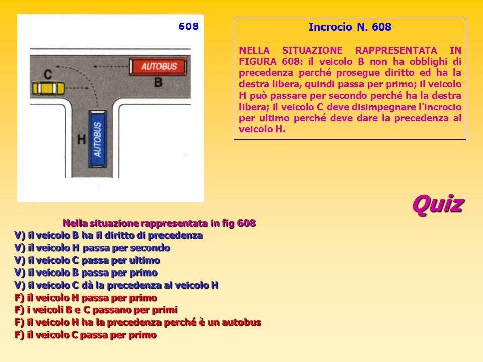 Quiz Nella situazione rappresentata in fig 608 V) il veicolo B ha il diritto di precedenza V) il veicolo H passa per secondo V) il veicolo C passa per