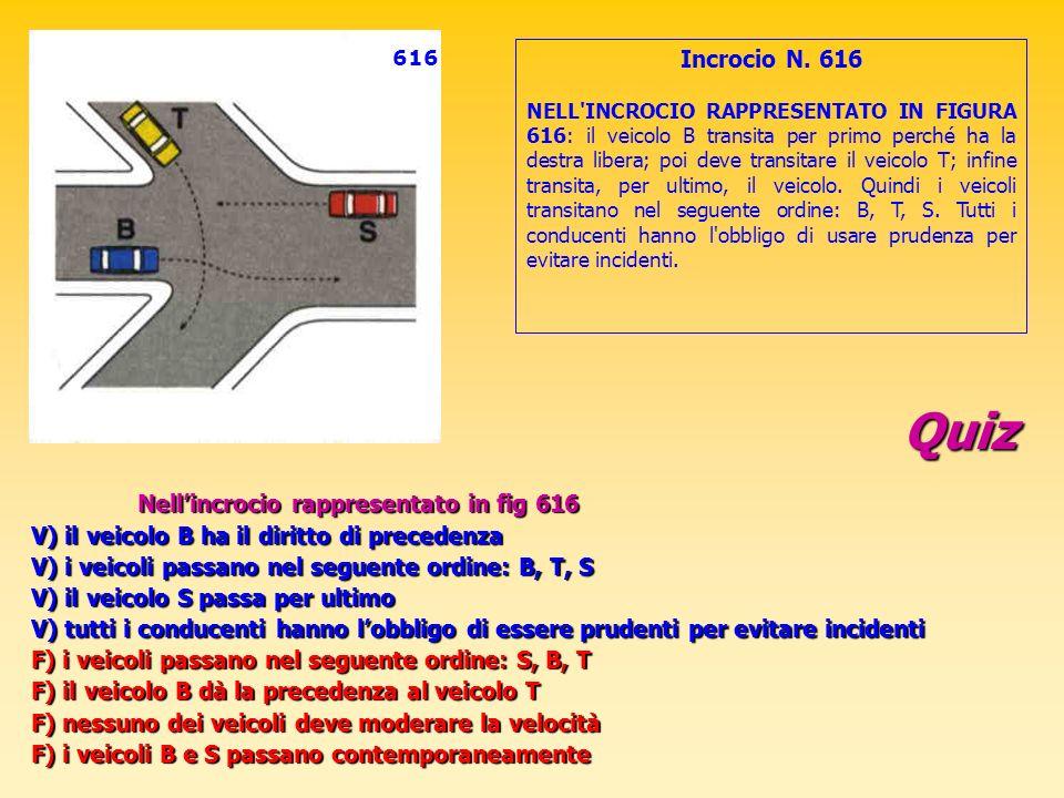 Quiz Nellincrocio rappresentato in fig 616 V) il veicolo B ha il diritto di precedenza V) i veicoli passano nel seguente ordine: B, T, S V) il veicolo