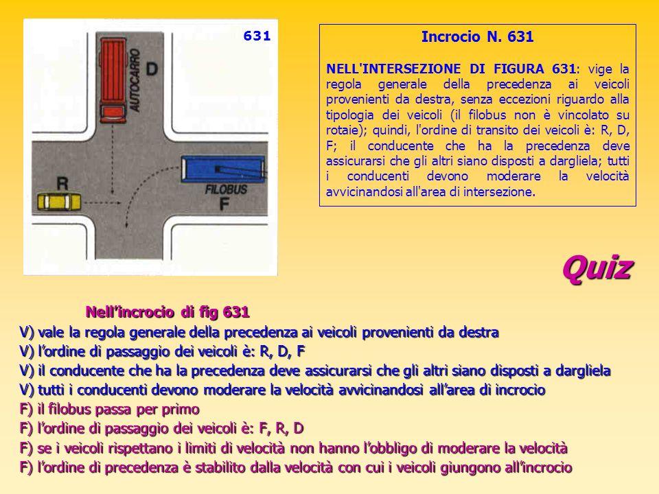 Quiz Nellincrocio di fig 631 V) vale la regola generale della precedenza ai veicoli provenienti da destra V) lordine di passaggio dei veicoli è: R, D,