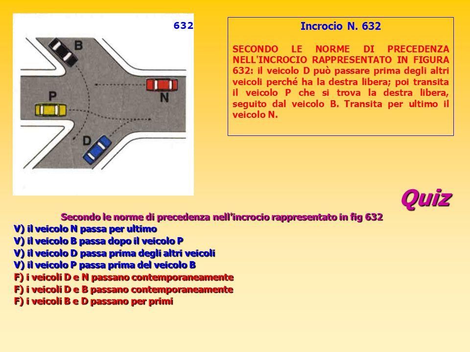 Quiz Secondo le norme di precedenza nellincrocio rappresentato in fig 632 V) il veicolo N passa per ultimo V) il veicolo B passa dopo il veicolo P V)