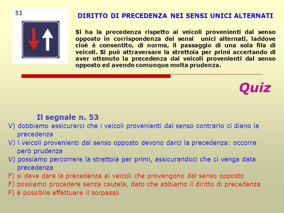 Quiz Il segnale n. 45 V) nelle strettoie obbliga a dare precedenza ai veicoli provenienti dal senso opposto V) obbliga a dare la precedenza ai veicoli
