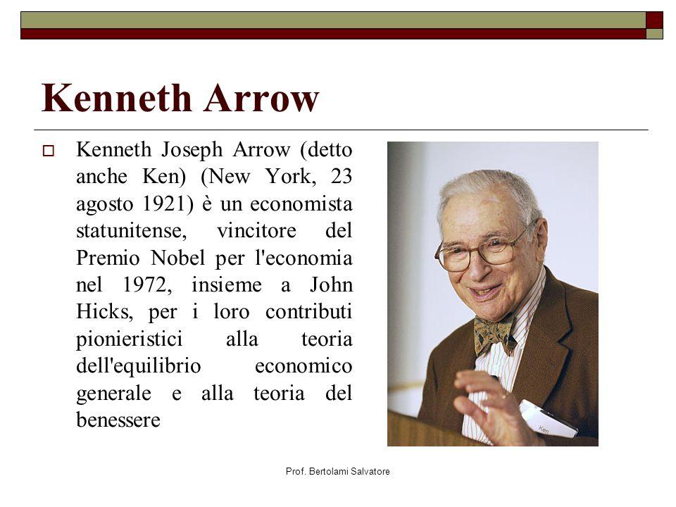 Prof. Bertolami Salvatore Kenneth Arrow Kenneth Joseph Arrow (detto anche Ken) (New York, 23 agosto 1921) è un economista statunitense, vincitore del